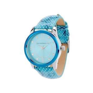 NIB Issac Mizrahi Teal Blue Leather Embossed Watch